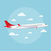 Aircraft vector flat illustrations. Modern airplane. Emblem for airlines banners.