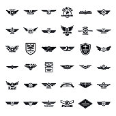 Airforce military army badge logo icons set. Simple illustration of 36 airforce military army badge logo vector icons for web