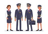 Airline staff characters. Pilots and stewardess. Flat style vector illustration isolated on white background.