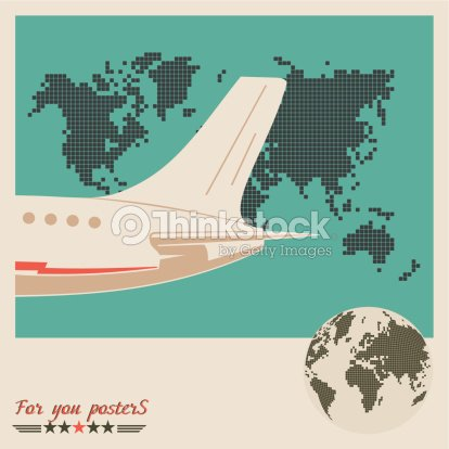 Airliner on world map background retro poster vector art thinkstock airliner on world map background retro poster vector art gumiabroncs Choice Image