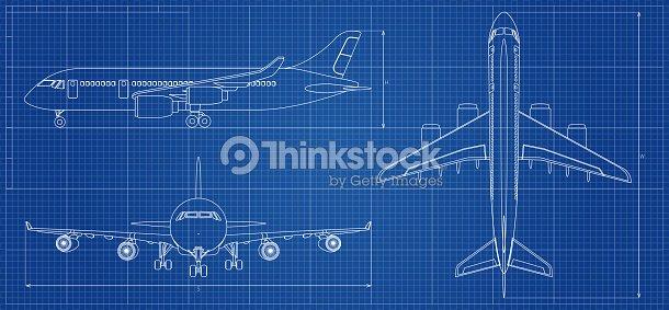Airplane blueprint outline aircraft on blue background vector airplane blueprint outline aircraft on blue background vector illustration vector art malvernweather Gallery