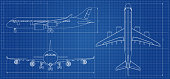 Airplane blueprint. Outline aircraft on blue background. Vector illustration. Aviation drawing blueprint, plane sketch graphic