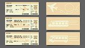 Bus Plane Train ticket concept design. Vector illustration.