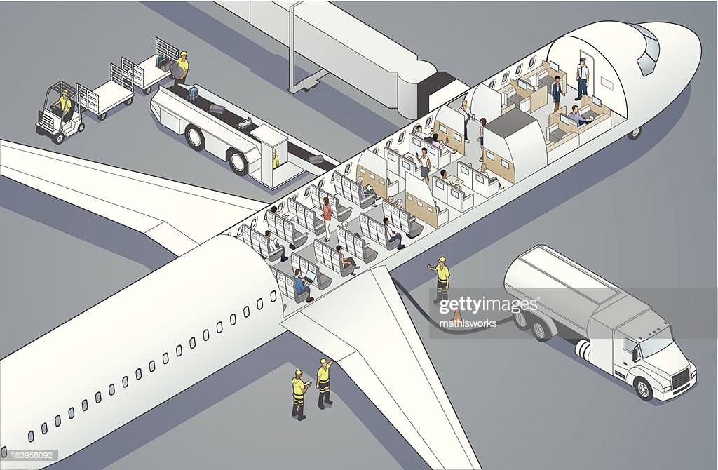 Airplane Cutaway : Vector Art