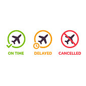 Airport information icons. Flight status on time, delayed and cancelled. Isolated airplane illustration set.