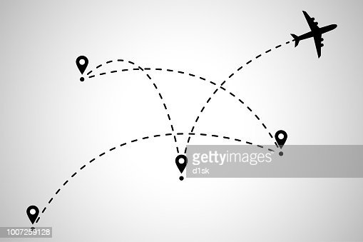 Airplane flight route : stock vector