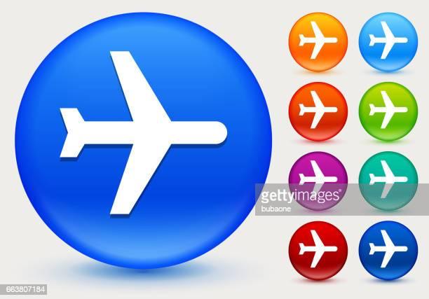 Airplane Icon on Shiny Color Circle Buttons
