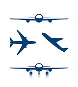 Airplane icons and plane with chassis