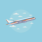 Airplane in blue sky with white clouds. Traveling and air freight vector concept. Airplane transportation tourism, commercial plane illustration