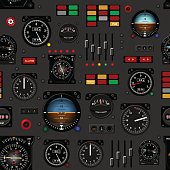 Airplane instrument panel. Aircraft dashboard. Creative seamless pattern, Realistic wallpaper.