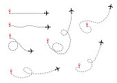 The airplane is in a dotted line. The flying apartment is black. The waypoint is for a tourist trip. and his track on a white background. Vector illustration.tourism and travel.