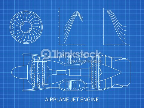 Airplane jet engine with turbine vector blueprint design vector art airplane jet engine with turbine vector blueprint design vector art malvernweather Images