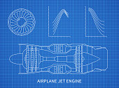 Airplane jet engine with turbine vector blueprint design. Illustration of air engine and turbine plan drawing blueprint