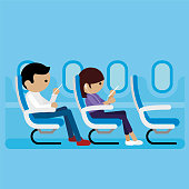 passenger sitting in airplane vector