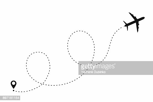Chemin de l'avion en forme de pointillé. Itinéraire de l'avion, isolée sur fond blanc : clipart vectoriel