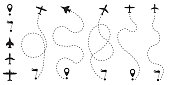 Airplane route in dotted line shape. A route from a line in the form of points. Travel concept vector illustration.