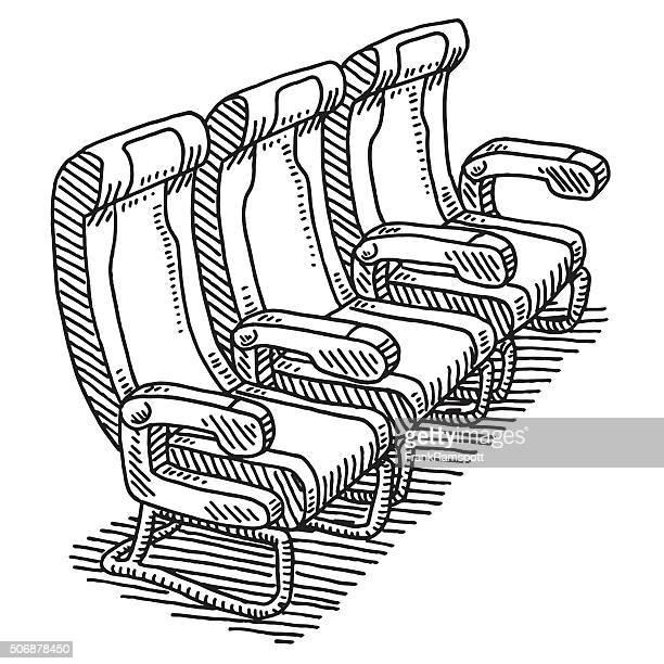 Airplane Seat Row Drawing