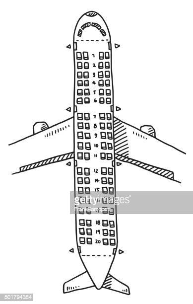Airplane Seats Overhead View Drawing