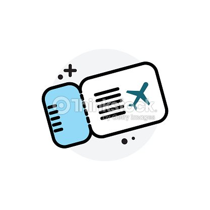 airplane ticket concept isolated line vector illustration editable