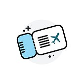 Airplane ticket concept Isolated Line Vector Illustration editable Icon