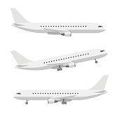 Plane in flat style. Vector side view of airplanes.