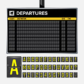 Airport Board Vector. Mechanical flip airport scoreboard. Black airport and railway timetable departure or arrival. Destination airline board abc. Vector airport board