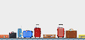 Airport conveyor belt with passenger luggage bags vector illustration. Airport baggage belt, luggage for travel, terminal conveyor. vector illustration in flat design