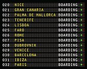 airport flight information display, european holiday travel destinations. vector