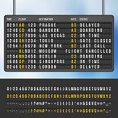 Airport flip arrivals information scoreboard vector mockup. Display with information flight and destination, illustration of info scoreboard