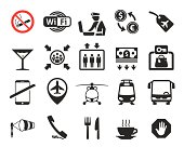 Airport icons set  wayfinding system pictograms