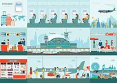 Airport  infographic of Passenger airline at airport terminal with check in counter and security checkpoint, Airline interior with plane seat on the flight business travel vector illustration.
