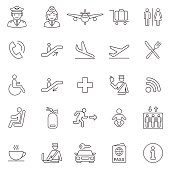 Airport icons against a gray background. The first row features an airplane, a passport attendant, a baggage attendant, a globe, a passenger showing a passport and luggage. The second row features a c