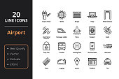 20 line icons for airport, adaptive for web and user interface