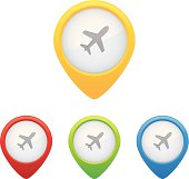 Colorful set of airport map markers or pins.