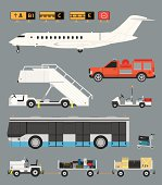 Airport infographic set with business jet, passenger bus and baggage carts in CMYK