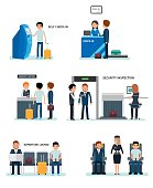 Airport terminals set with charts and other elements. Airport Terminal Security Check, check-in, passport control, waiting room, in the cabin with a flight attendant. Vector flat style illustration.