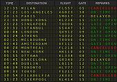 Airport departure board. Airline schedule, vector illustration