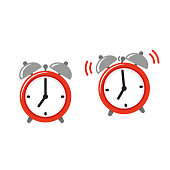 Alarm clock icon set, standing and ringing. Retro style cartoon clock illustration, simple vector clip art.