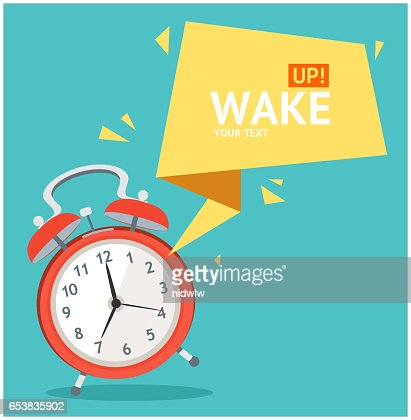 Alarm Clock with Bubble Speech Card. Vector : stock vector