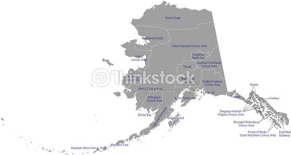 Alaska County Map Vector Outline Gray Background County Map Of ...