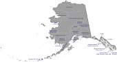 Alaska county map vector outline gray background. County map of Alaska state of USA with borders and counties names labeled