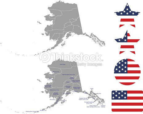 Alaska County Map Vector Outline In Gray Background Alaska State Of ...