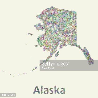 Alaska line art map : Vector Art