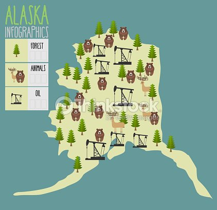 alaska map natural resources oil and wood animals of alaska vector art