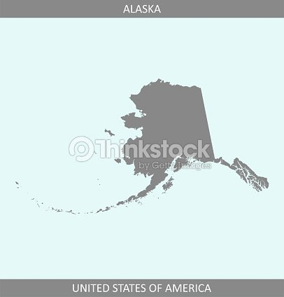 Alaska Map Vector Outline Gray Background A State Of United States