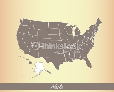 Alaska Map Vector Outline Illustration Highlighted In Usa ... on texas and alaska map, alaska and klondike gold region map, anchorage alaska on world map, alaska road map, alaska state map, alaska map with cities,