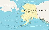 US State Alaska Political Map with capital Juneau, national borders, important cities, rivers and lakes. English labeling and scaling. Illustration.