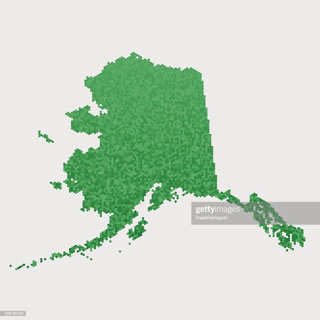 Alaska State Map Green Hexagon Pattern Vector Art Getty Images - Alaska state map