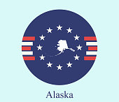 Alaska state of USA map vector outline on abstract background of American flag icon illustration. Conceptual graphic design of map of Alaska state of United States of America