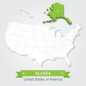 Alaska state. USA administrative map.